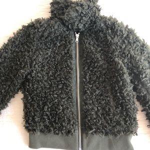 H&M dar olive green sherpa jacket